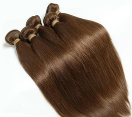 Wholesale Hair Dye For Weaved - 4pcs lot 18-24inch European human hair weave chocolate straight cheap remy hair extensions for sale free shipping