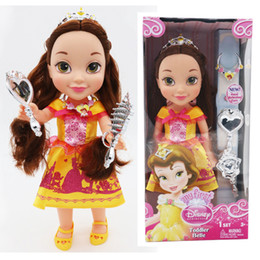 Wholesale Cute Love Comics - Belle dolls 35cm the princess dolls with beautiful coloth girls party love cute kids gift lovely dolls