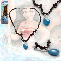 Wholesale Necklace Pendants For Kids - Cartoon movie resin pendant necklace Moana plastic pendant braided leather neck chain Jewelry gifts cosplay props for kids gifts