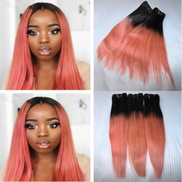 Wholesale 18 Inch Pink Hair Extensions - 9A Ombre Hair Extensions 1B Rose Gold Ombre Brazilian Virgin Human Hair 3 Bundles Two Tone Pink Ombre Silky Straight Remy Hair Weaves