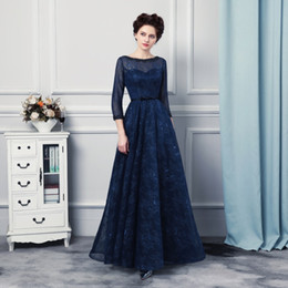 Wholesale power three - 2017 Free Shipping Evening Dresses vestidos de noiva Scoop Neck with Three Quarter Sleeves Formal Prom Gowns