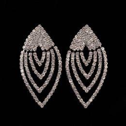 Wholesale Crystal Blue Stud Earrings - European Popular Women Brand Earings 2017 Minlover Silver&Blue Colors Austrian Crystal Drop Long Earrings for Women Rhinestone New Year gift