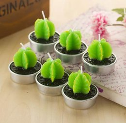 Wholesale Art Cactus - Wholesale-Free shipping Creative Green Cactus candles smoke-free Valentine Day Gift Plant candles Pot candles