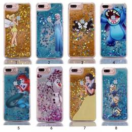 Wholesale Cartoon Stitch - Bling Glitter Hard PC Case for iphone 5S se 6 6s 7 8 plus Stitch minios Mermaid Snow White Quicksand Cartoon Sparkle Cover