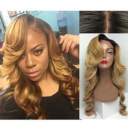 Wholesale Lace Front Wigs Color 27 - Charming Ombre Wigs 1b 27# Black Blonde Long Curly Wavy Wig Heat Resistant Glueless Synthetic Lace Front Wigs for Black Women