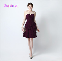 Wholesale Keyhole Cocktail Dresses - Sexy Fashion Short Cocktail Dresses vestidos de noiva Prom Gowns Sweetheart Off Shoulder Pleats Knee Length Fast Shipping