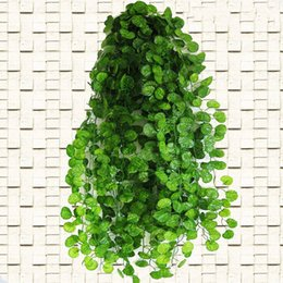 Wholesale Vines Leaves - Wholesale-2.4m Long Artificial Plants Green Ivy Leaves Artificial Grape Vine Fake Foliage Leaves Home Wedding Decoration