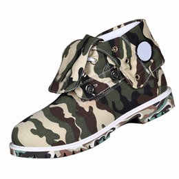 Wholesale Cloth Printing Designs - Camouflage Military Mens Martin Boots Unquie Design Cloth Ankle Shoes Low Heel Lace up Waterproof Shoes for Men 460130