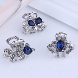 cute womens jewelry Promo Codes - Wholesale Small Mini Size Silver Metal Hair Claw Clips with Crystal Rhinestones Girls Womens Cute Hair Jewelry Clamps Hair Pin Accessories