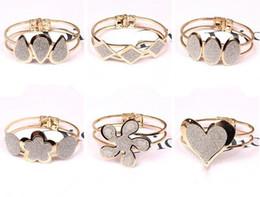 Wholesale Polish Rose Ring - Wholesale- New 2017 HOT Rose Gold Plated Crystal Dull Polish Bangle Heart Rhombus Bracelet Gift