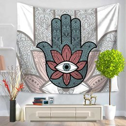 Wholesale Hand Knit Cotton - Hamsa Hand Tapestry Indian Mandala Floral Wall Hanging Tapestry for Home Psychedelic Bedspread Retro Print Decorative Wall Hangs 0711043