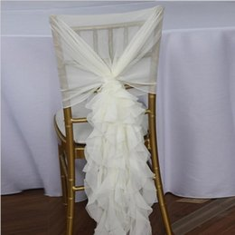 Wholesale Fast Chairs - Ruffled Chair Sashes White Ivory Champagne Chair Covers Custom Made Organza Tulle Wedding Supplies Chair Decorations Fast Shipping