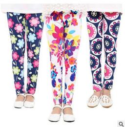 Wholesale Flower Print Leggings Girls - Girl Pant Leggings Girls Printing Flower Trousers Children Pants Spring Autumn Kids Leggings skinny Kids Clothing
