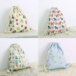 Wholesale Cell Beam - Contracted the original draw string back beam mouth female bag wholesale and direct recreational canvas bag backpack