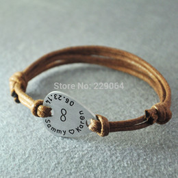 Wholesale Custom Jewelry Stamps - Wholesale-Personalized infinity Mens Guitar Pick Leather Bracelet, Custom Hand stamped Personal Message, Men's jewelry, Anniversary Gift
