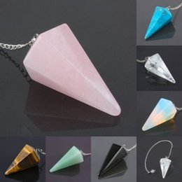 Wholesale agate gemstone necklace - Agate Quartz Crystal Gemstone Healing Divination Pendulum Pendant Healing Reiki
