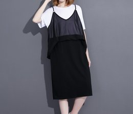 Wholesale Splice Round Neck Shirt - 2017summer Spring New Fashion Spliced Chiffon Round Color Short Sleeve Mid-calf Loose Casual Dress Woman F20103