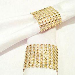 Wholesale Diamond Mesh Wrap Gold - Gold Diamond Napkin Ring Rhinestone Mesh Wrap Wedding Banquet Dinner Decor Bow Covers Plastic Ring OOA2333