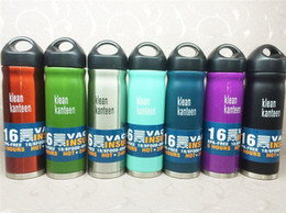 Wholesale Wholesale 16oz Bottles - Klean Kanteen 16oz Vacuum Insulated Stainless Steel Water Bottle Wide Mouth Cap Sports Gear Cup travel water bottles
