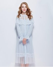 0c2f01e6c8 Wholesale- Free Shipping 2016 New Autumn Women s Long Blue and White  Vintage Pyjamas Lace Sleepwear Cotton Nightgown Lady Royal Nightshirt