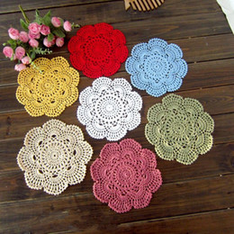 Wholesale Table Mats Decoration - Hand Made 20cm Pad Multi Colors Cotton Lace Round Table Mat Crochet Weave Coasters For Home Decoration 1 6jy B
