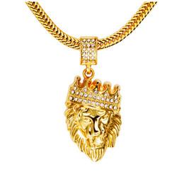 2017 Fashion Hip Hop Shiny Diamant Kristall Crown Löwenkopf Anhänger Halskette Herren 14K Gold Überzogene Lange Halskette Party Geschenke von Fabrikanten
