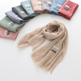 Wholesale Soft Wrinkle Scarves - 10 Colors Children Solid Color Cotton Wrinkled Scarves Stylish Soft Kids Girls Boys Baby Scarf Autumn Winter High Quality Shawl Neck Scarves