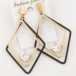 Wholesale Korean Handmade Earrings - 2017 Vintage Handmade Geometric Shaped Earrings For Women Clear Zircon Trendy Korean Earings Fashion Jewelry
