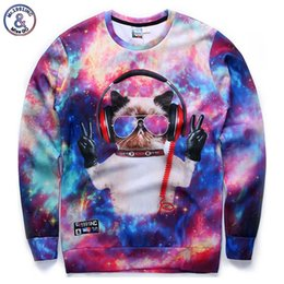 Wholesale Printed 3d Glasses - Hip Hop Hot sell ! New fashion men women 3d sweatshirts funny print glasses DJ cat galaxy hoodies Victory finger sign tops