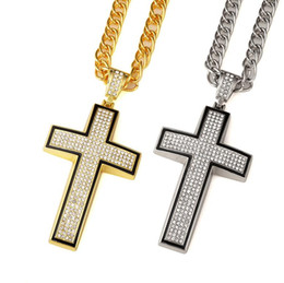 Wholesale Popcorn Gift Tins - New Hip Hop Jewelry gold silver plated full crystal cross pendent necklace religion men jewelry accessories Christianity gifts