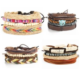 Wholesale Wholesale European Charm Braclet Beads - 4Pcs Vintage Nepal Multilayer friendship Bracelets for Women Leather Rainbow Bracelet Male Braclet Men Braslet Bulgaria Jewelry AA331