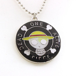 Wholesale One Pieces Anime Necklace - Free Shipping New Anime Peripheral Necklace Pendant One Piece Luffy Dead Alive Necklace For Men And Women Wholesale Jewelry