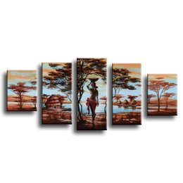 Wholesale Tree Africa - Tree Oil Painting 5pcs On Canvas High Quality Nude Women Africa Country Modern Wall Picture For Living Room Abstract Home Decor