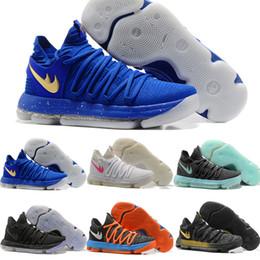 Wholesale Kds Shoes - 21 Colors KD 10 Men Basketball Shoes Homme White Tennis BHM Kevin Durant KD X Kds Elite Floral Aunt Pearls Easter Men Sneaker