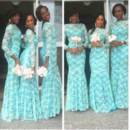 Wholesale Aqua Custom - Elegant Aqua Blue African Bridesmaid Dress Long Sleeves Dubai Dresses Plus Size Lace Bateau Neckline Nigerian Bridesmaid Gowns