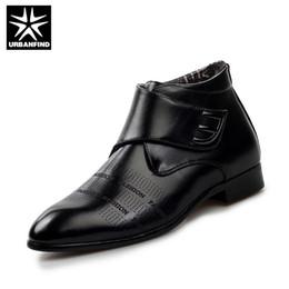 Wholesale White Wedding Fabric Decor - Wholesale- URBANFIND Add Plush Men Ankle Boots Fashion Leather Shoes EU 38-43 Black   White Leather Decor Wedding Business Shoes