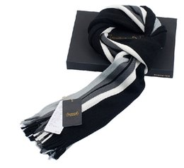 Wholesale Winter Mufflers Men - Wholesale- Autumn Winter Fashion Top Grade Classic Striped Woolen Scarf Macrochaeta Thickness Black&White&Gray Scarves Gift Set Man Muffler