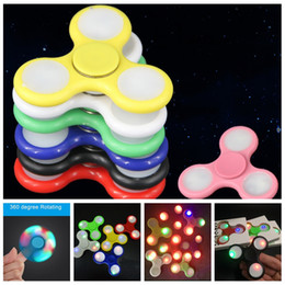 Wholesale finger triangle - 2017 new Stocks LED Light Hand Spinners Fidget Spinner Triangle Tri Fidget Acrylic Plastic Decompression Fingers Tip Tops Toys