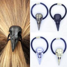 Wholesale Gothic Punk Fashion Accessories - New Fashion 1 Pc Women Punk Gothic Raven Skull Crow Elastic Hair Rope Hair Band Hair Accessories