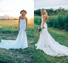 Wholesale Sweetheart Tulle Wedding Gown - 2017 Bohemian Spaghetti Straps Mermaid Wedding Dresses Full Lace Sweetheart Sexy Backless Summer Beach Garden Bridal Gowns BA6660