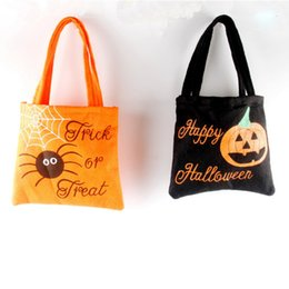 Wholesale Lovely Bread Cartoon - 5pcs Happy Halloween Party Handbag Lovely Non-woven Fabric Children' Candy Bag for Kids 2colors