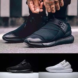 Wholesale White Color Boots - (With box) All White Color Mens Y3 Qasa High Top Sneakers Good Quality Womens Shoe Unisex Men Classic Y-3 Black Shoes Boots 36-45