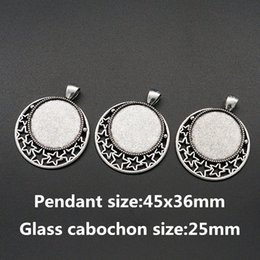 Wholesale Round Pendant Trays - Wholesale- BL0073 Round Stars Antique Silver Necklace Pendant Setting Cabochon Cameo Base Tray Bezel Blank Fit 25mm glass cabochon