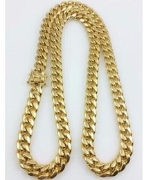 """Wholesale 14k curb chain - Men 18k Yellow Gold Stainless Steel 12mm 24"""" Miami Cuban Curb Link Chain"""