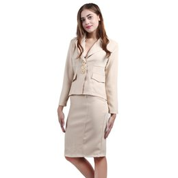 Wholesale Ladies Dress Skirt Suits - Women's Two Piece Sets Fashion Long Sleeve Split Office Lady Career Tops And Skirts 2 piece Sets Professional Skirt Suits Women