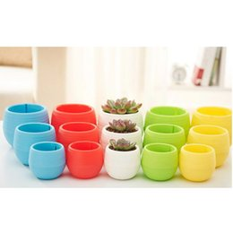 Wholesale Mini Garden Pots - Plastic Plant Flower Pots Mini Colourful Cute Round Home Gardening Office Decor Planter Garden Desktop Garden Deco Garden Pot Gardening Tool