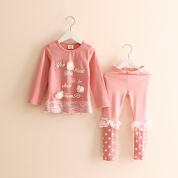 Wholesale Cheap Winter Clothes For Boys - Wholesale- Spring and Autumn Letter Flower Girls Clothing Set Children Long Sleeve T-shirt Lace Leggings Cheap Clothing Set for Cute Girls