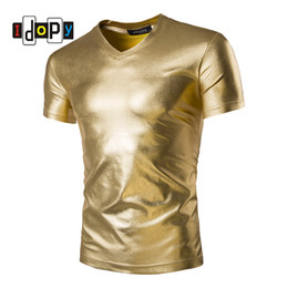 Wholesale Stylish Tshirts - Wholesale- Mens Trend Night Club Coated Metallic Gold Silver T-Shirts Stylish Shiny Short Sleeves Tshirts Tees For Men