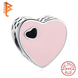 Wholesale Pink Enamel Beads - BELAWANG 925 Sterling Silver Beads Pink Enamel Sweet Heart Charms Fit Original Bracelets & Bangles DIY Jewelry Wedding Valentine's Day Gift