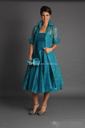 Wholesale Organza Red Jacket - Elegant A Line Plus Size Short Mother of The Bride Dresses 2017 Jacket Teal Length Suits Evening Gowns Cheap Organza